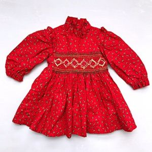 Vintage Girl's Praire Red Floral Dress 12/18 Month